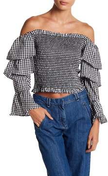 WAYF Denis Ruffle Sleeve Smocked Top