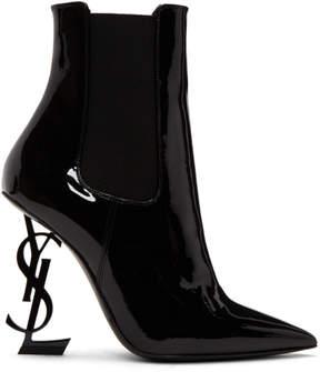 Saint Laurent Black Patent Opyum Chelsea Boots