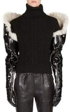 Saint Laurent Long Shearling & Leather Gloves