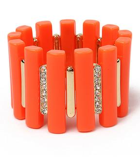 Amrita Singh Orange Austrian Crystal Noho Stretch Bracelet