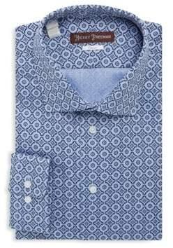 Hickey Freeman Cotton Textured Classic-Fit Dress Shirt