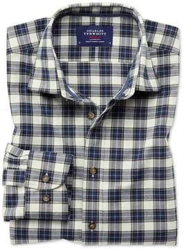 Charles Tyrwhitt Slim Fit Heather Plaid Silver and Blue Check Cotton Casual Shirt Single Cuff Size XS
