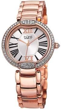 Burgi Silver Dial Rose Gold-tone Case Crystal Bezel Ladies Watch