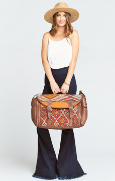 Pamela V ~ Weekender Tote Bag ~ Brown Leather