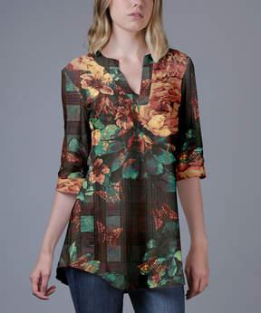Azalea Green & Brown Floral V-Neck Tunic - Women