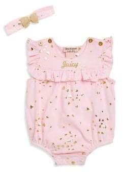 Juicy Couture Baby Girl's Two-Piece Heart Bodysuit and Headband Set