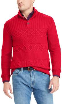 Chaps Big & Tall Classic-Fit Cable-Knit Mockneck Sweater