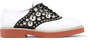 Miu Miu Studded Two-tone Leather Brogues - White
