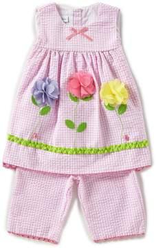 Bonnie Jean Little Girls 2T-4T Seersucker Floral/Ladybug Dress & Capri Pants Set
