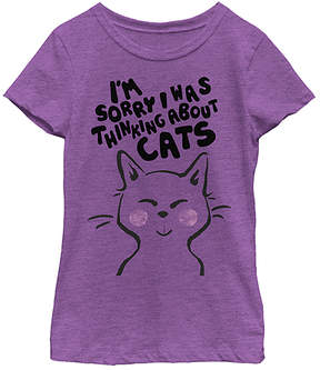 Fifth Sun Purple Berry 'Thinking About Cats' Crewneck Tee - Girls