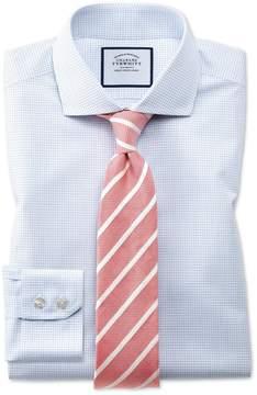 Charles Tyrwhitt Super Slim Fit Spread Collar Non-Iron Natural Cool Micro Check Blue Cotton Dress Shirt Single Cuff Size 14/33