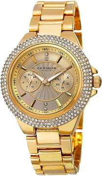Akribos XXIV Gold Tone Dial Multi-function Ladies Watch
