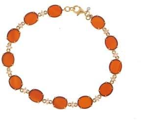 Frederic Sage 18k Yg Oval Mini Red Agate and Brown Diamond 12 Link Tivoli Ii Bracelet