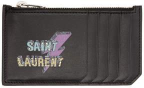Saint Laurent Black 5 Fragments Eclair Card Holder