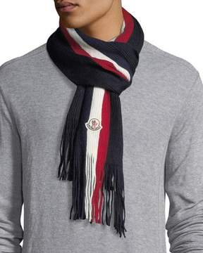 Moncler Fringed-End Striped Wool Scarf