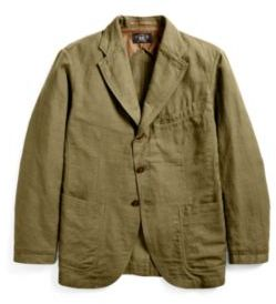 Ralph Lauren Cotton-Blend Sport Coat Olive Xs