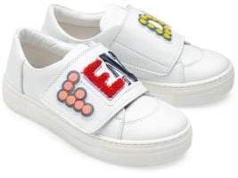 Fendi Toddler's& Kid's Logo Strap Leather Sneakers