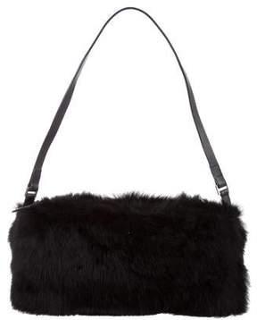 Pollini Leather-Trimmed Fur Bag