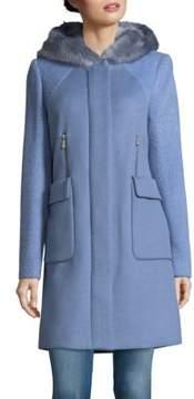 Dawn Levy Lara Faux Fur-Trimmed Coat