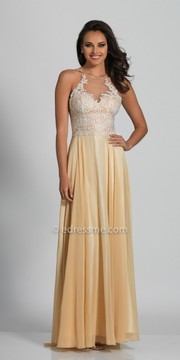 Dave and Johnny Sparkle Embroidered Halter Chiffon Prom Dress
