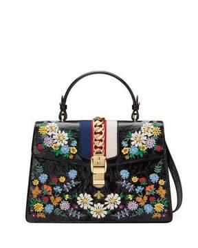 Gucci Sylvie Medium Floral Leather Top-Handle Satchel Bag - BLACK PATTERN - STYLE