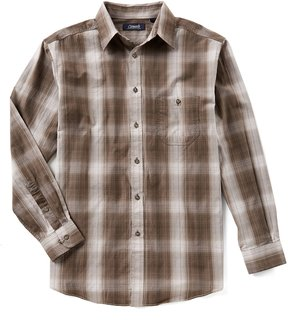 Roundtree & Yorke Casuals Big & Tall Long-Sleeve Ombre Plaid Sportshirt
