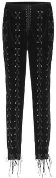 Unravel Lace-up velvet trousers