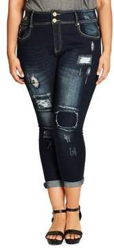 City Chic Plus Distressed Denim Jeans