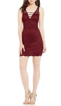 B. Darlin Deep-V Lace Sheath Dress