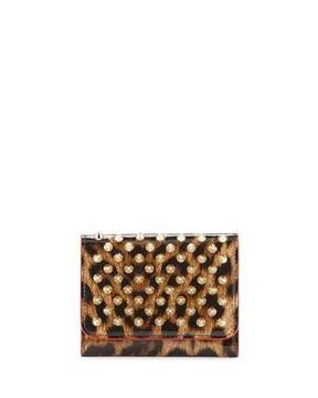 Christian Louboutin Macaron Mini Patent Spiked Flap Wallet, Leopard