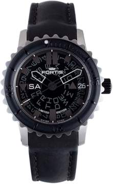 Fortis Mens B-42 Big Black Black Watch.