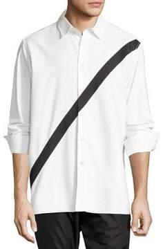Public School Neruda Contrast-Stripe Cotton Shirt, White/Black