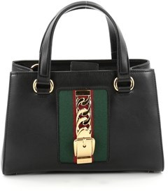 Gucci Pre-owned: Sylvie Convertible Satchel Leather Medium. - BLACK - STYLE