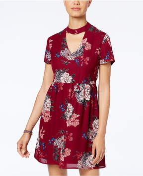 As U Wish Juniors' Printed Cutout Dress