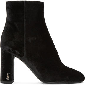 Saint Laurent Black Velvet LouLou Zipped Boots