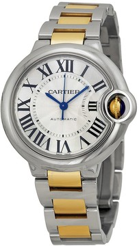 Cartier Ballon Bleu Automatic Silver Dial Stainless Steel and 18kt Yellow Gold Ladies Watch