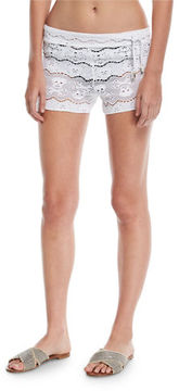 Letarte Skull-Lace Coverup Shorts