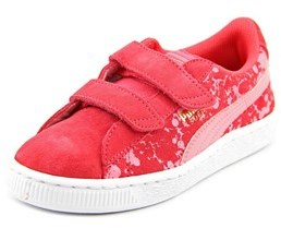 Puma Speckle V Youth Round Toe Suede Pink Sneakers.