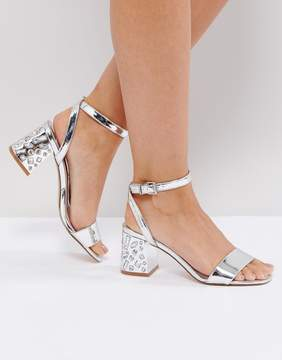 Faith Silver Embellished Heel Sandals