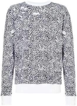 Amiri Distressed Leopard Crewneck sweatshirt