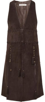 Chloé Embellished Tasseled Suede Vest - Brown