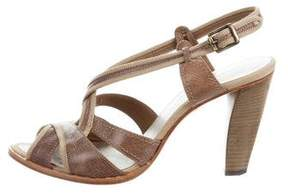 CNC Costume National Leather Crossover Sandals