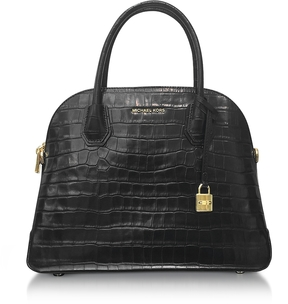 Michael Kors Mercer Large Black Embossed Croco Leather Dome Satchel Bag - BLACK - STYLE