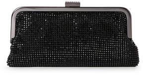 natasha Black Crystal-Mesh Soft Frame Clutch