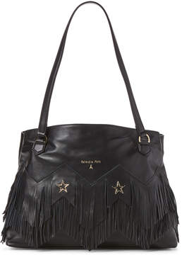 Patrizia Pepe Fringe & Star-Studded Black Leather Borsa Bag