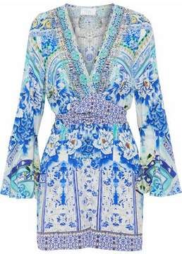 Camilla Wrap-Effect Crystal-Embellished Floral-Print Silk Crepe De Chine Playsuit