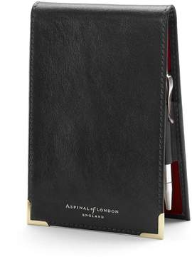 Aspinal of London Pocket Memo Pad In Smooth Black Red Suede