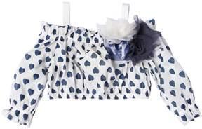 MonnaLisa Hearts Print Cotton Muslin Cropped Top