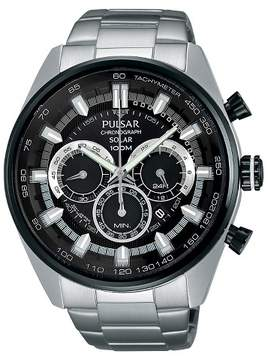Pulsar Men's Solar Chronograph - Silver Tone with Black Dial - PX5033