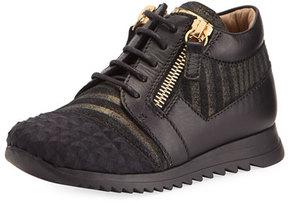 Giuseppe Zanotti Iperstud Leather Sneaker, Black, Youth
